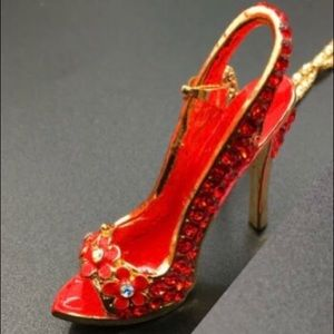 Red High Heel Shoe Necklace